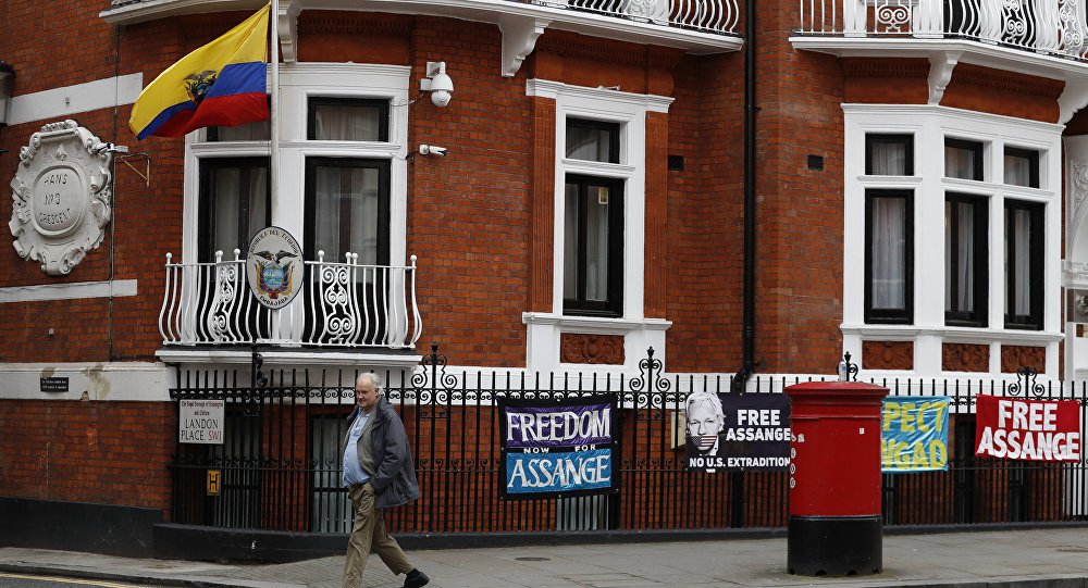 A general view of the Ecuadorian Embassy where Wikileaks founder Julian Assange has been holed out since 2012, in London, Friday, April 5, 2019