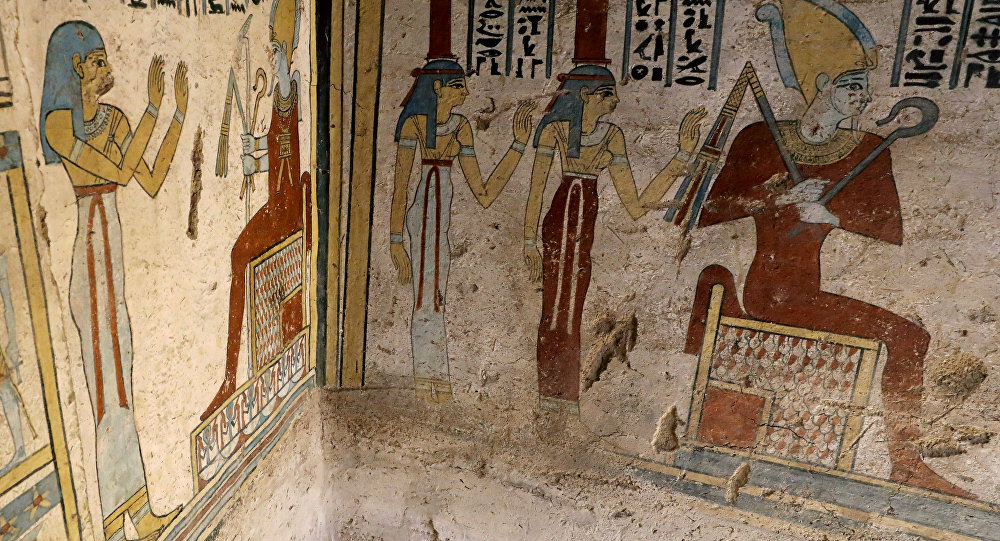 Preserved wall paintings inside the newly discovered burial site, Tomb of Tutu, at al-Dayabat, Sohag