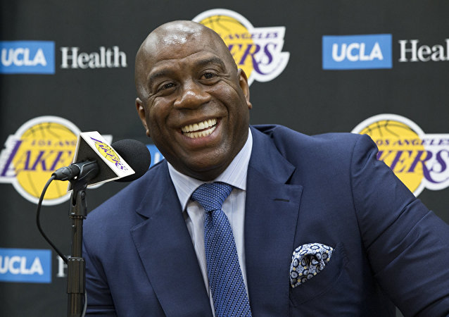 June 26, 2018 file photo,Los Angeles Lakers president of basketball operations, Earvin Magic Johnson
