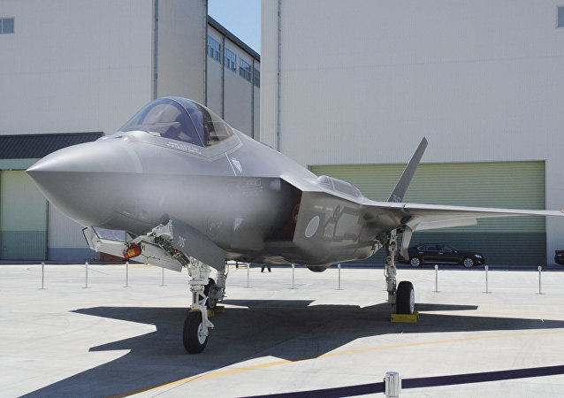 A Japan Air Self-Defense Force's F-35A stealth fighter jet, which Kyodo says is the same plane that crashed during an exercise on April 9, 2019, is seen at the Mitsubishi Heavy Industries Komaki Minami factory in Toyoyama, Aichi Prefecture, Japan, in this photo taken by Kyodo June 2017