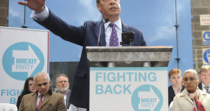 British MEP Nigel Farage speaks during the launch of the Brexit Party's European election campaign, Coventry, England, Friday, April 12, 2019.