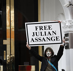 A demonstrator holds up a 'Free Assange' placard outside the front entrance of the Ecuadorian Embassy where Wikileaks founder Julian Assange has been holed out since 2012, in London, Friday, April 5, 2019