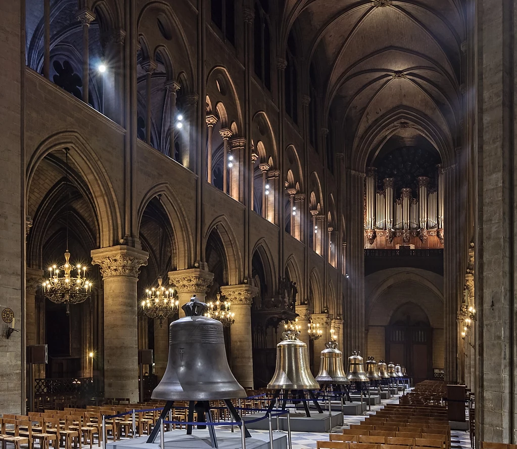 The new bells of Notre Dame de Paris on public display in the nave in February 2013, before being hung in the towers of the cathedral.