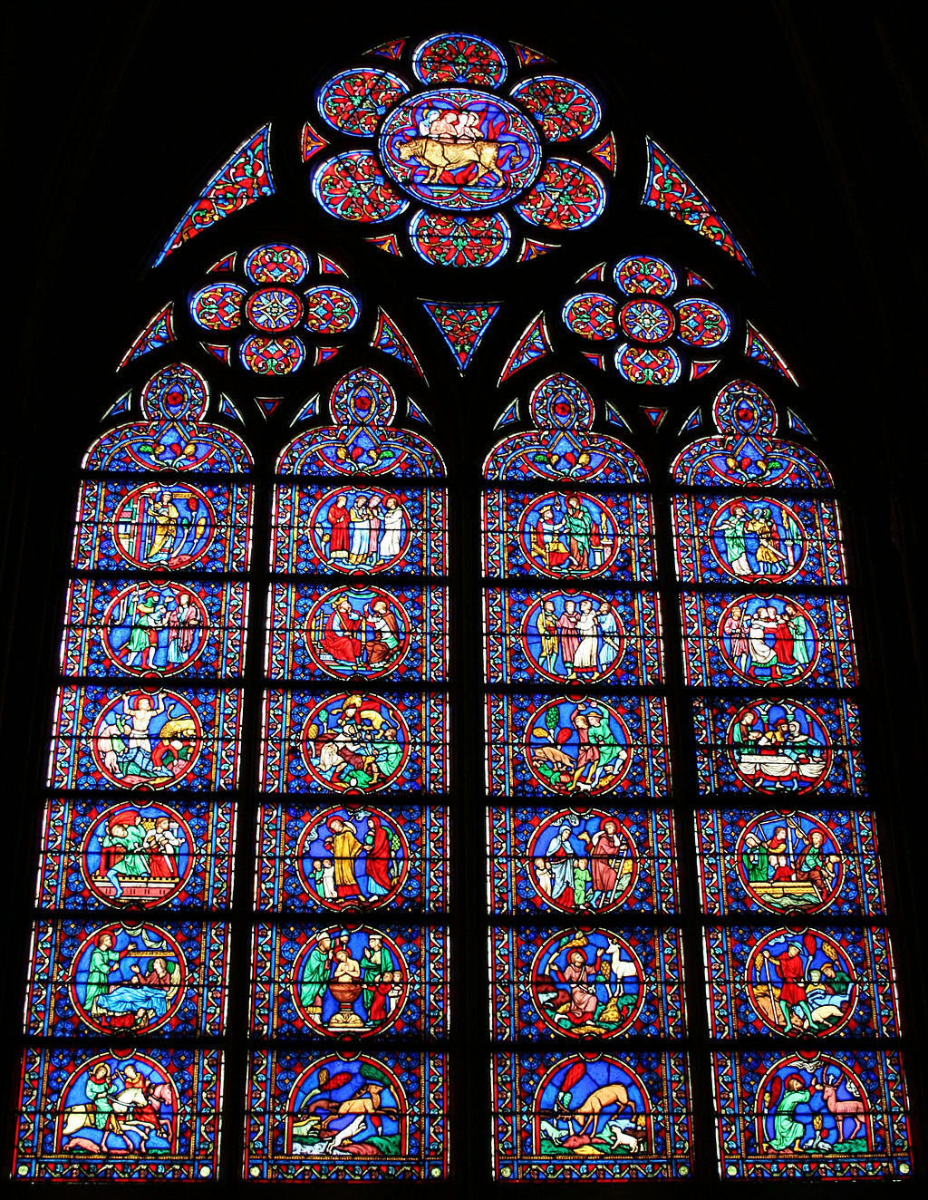 Notre Dame internal stained-glass window