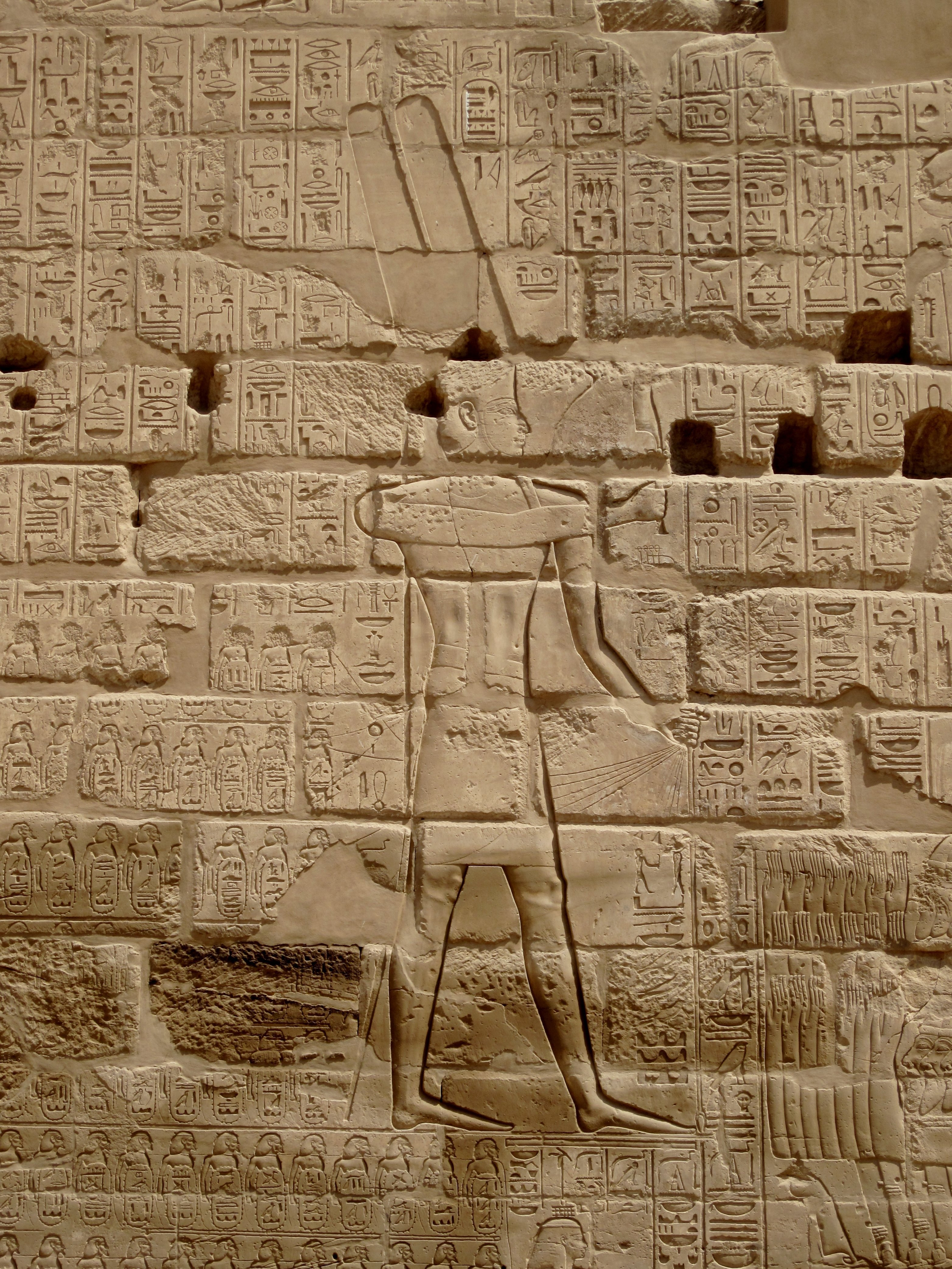 The Relief of Shoshenq I's campaign list at the southern exterior walls of the temple of Karnak, north of Luxor, Egypt