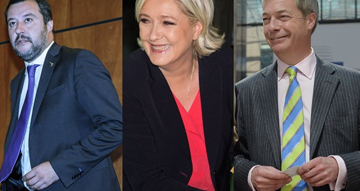 Matteo Salvini, Marine Le Pen and Nigel Farage