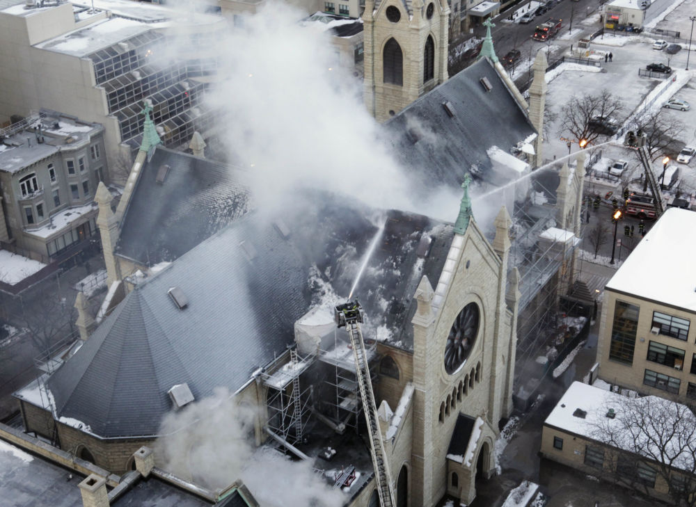 The Holy Name Cathedral in Chicago on Fire