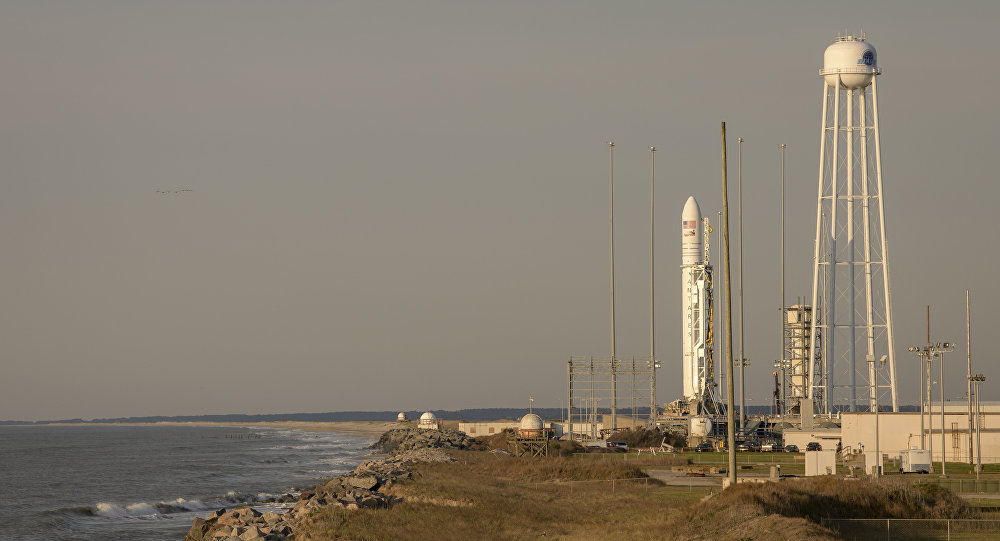 This photo provided by NASA shows the Northrop Grumman Antares rocket, with Cygnus resupply spacecraft onboard on Pad-0A, Wednesday, April 17, 2019 at NASA's Wallops Flight Facility in Virginia