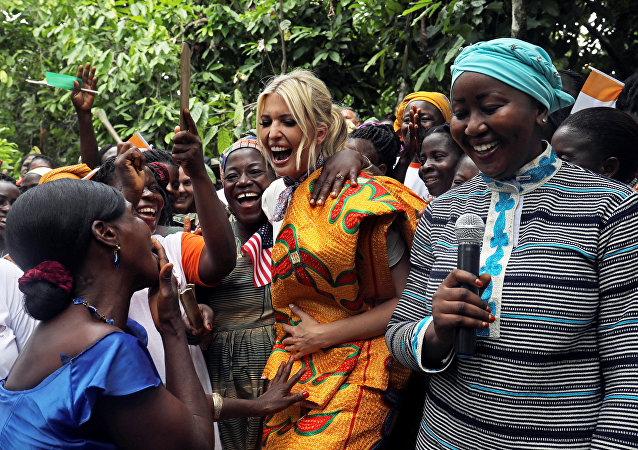 White House Advisor Ivanka Trump dances as she meets women entrepreneurs, at the demonstration cocoa farm in Adzope, Ivory Coast April 17, 2019