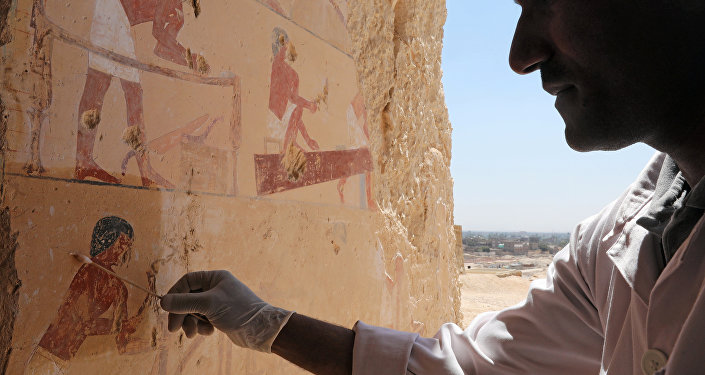 An Egyptian archaeologist works inside one of the largest newly discovered pharaonic tombs Shedsu Djehuty in Luxor, Egypt April 18, 2019