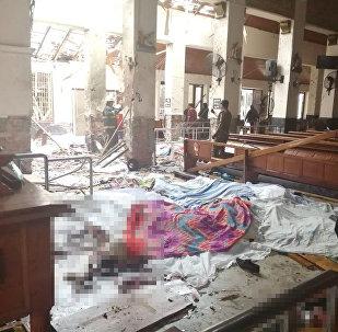 A view of St. Sebastian's Church damaged in blast in Negombo, north of Colombo, Sri Lanka