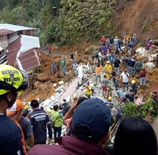 Landslide in Marquetalia, Colombia, Thursday, Oct. 11, 2018