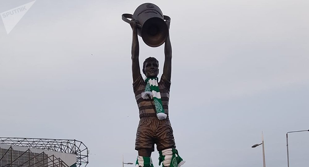 Genenral view of a statue of former Celtic player Billy McNeill
