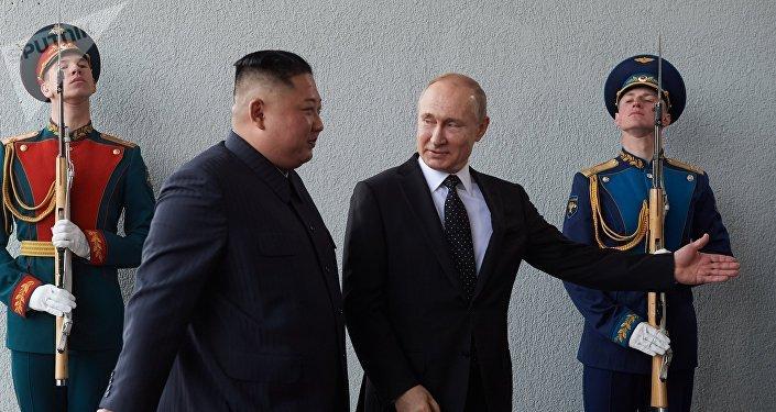 Russian President Vladimir Putin and North Korean leader Kim Jong-un meet in Vladivostok on 25 April, 2019