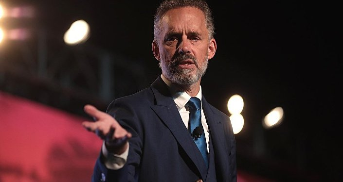 Jordan Peterson speaking with attendees at the 2018 Student Action Summit hosted by Turning Point USA at the Palm Beach County Convention Center in West Palm Beach, Florida