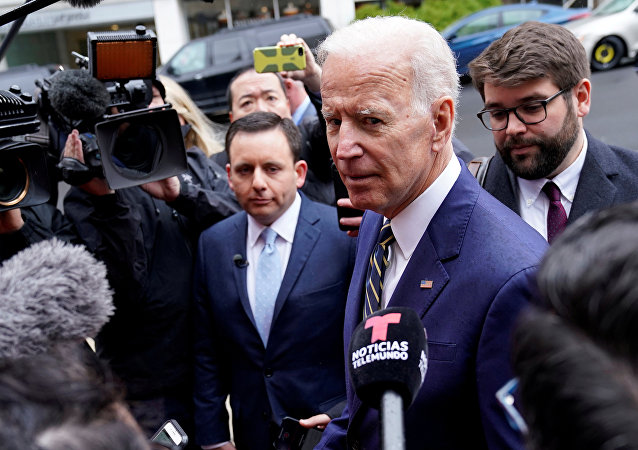 Former Vice President Joe Biden who is mulling a 2020 presidential candidacy, speaks to the media after speaking at the International Brotherhood of Electrical Workers' (IBEW) construction and maintenance conference in Washington, U.S., April 5, 2019