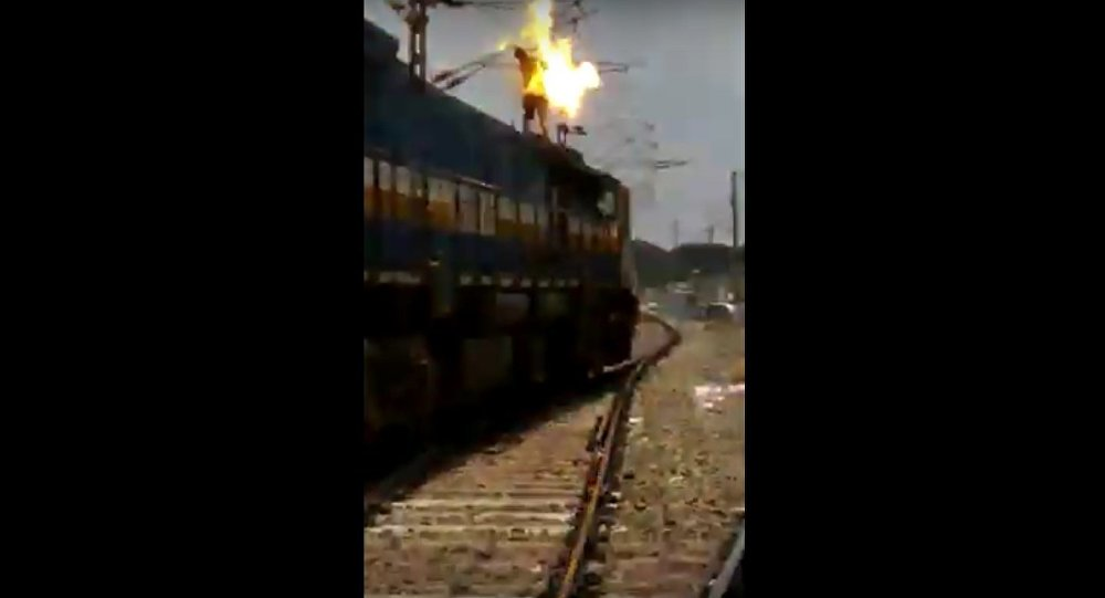 Man touches high voltage wire at railway station