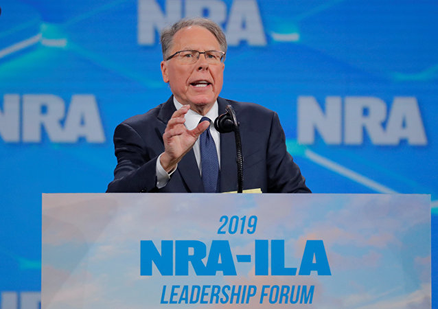 Wayne LaPierre, executive vice president and CEO of the National Rifle Association (NRA) at the NRA annual meeting in Indianapolis, Indiana