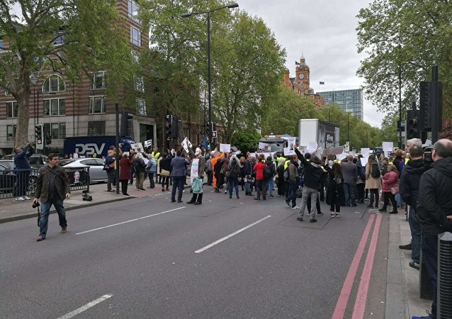Assange Supporters Block Street at Westminster Magistrate's Court