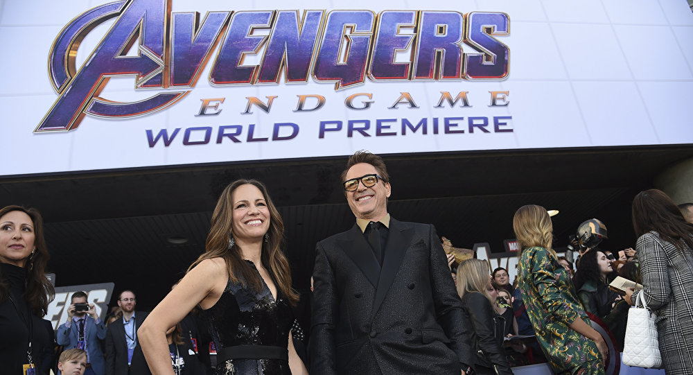 Susan Downey, left, and Robert Downey Jr. arrive at the premiere of Avengers: Endgame at the Los Angeles Convention Center on Monday, April 22, 2019