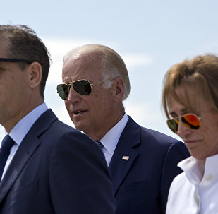 Former US Vice President Joe Biden, centre, his son Hunter Biden, left, and his sister Valerie Biden Owens, right. File photo