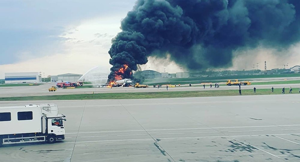 Plane Catches Fire at Moscow's Sheremetyevo Airport