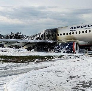 A view shows a damaged Aeroflot Sukhoi Superjet 100 passenger plane after an emergency landing at Moscow's Sheremetyevo airport, Russia May 5, 2019