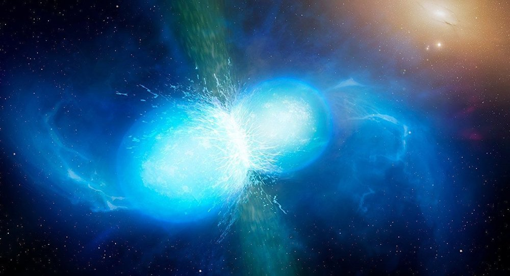 Artist's impression of two neutron stars merger