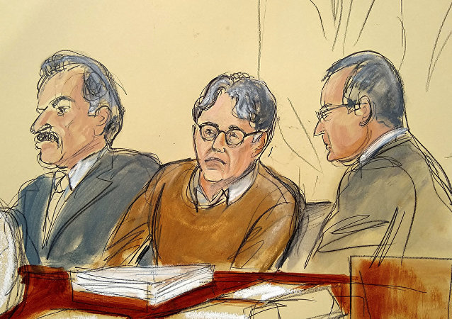 Keith Raniere (centre) in a courtroom artist's sketch of the courtroom on 7 May 2019. Raniere is flanked by his attorneys Paul DerOhannesian and Marc Agnifilo