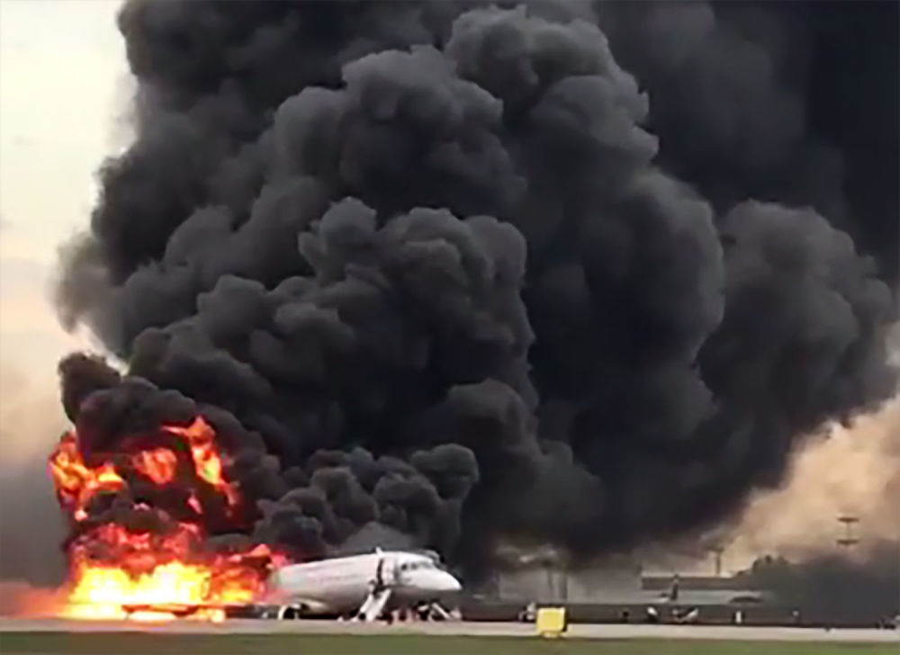 Russian Superjet-100 On Fire at Moscow's Sheremetyevo Airport