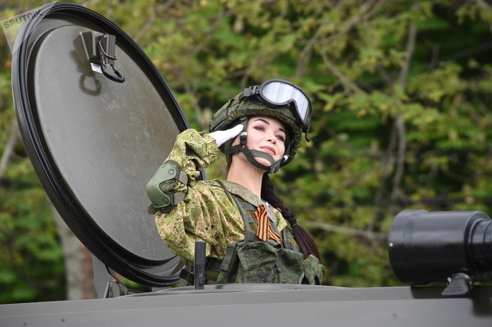 Servicewoman Salutes at Military Parade in Sevastopol