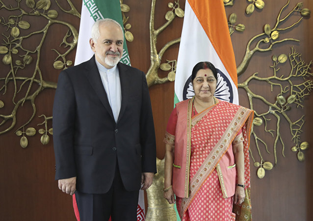 Iranian Foreign Minister Mohammad Javad Zarif, left, talks with his Indian counterpart Sushma Swaraj pose for the media before their meeting in New Delhi, India, Tuesday, May 14, 2019