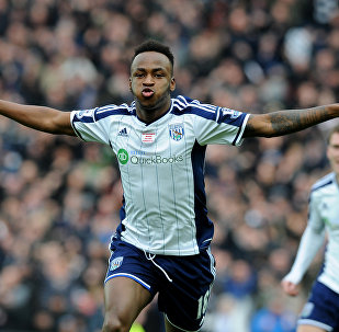 Striker Saido Berahino celebrates scoring for West Bromwich Albion in the English Premier League in 2015
