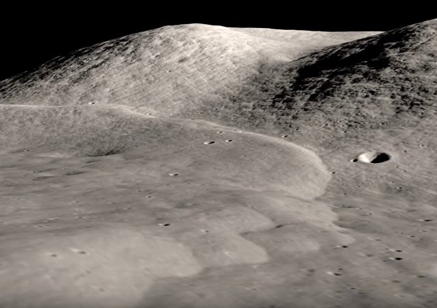 This visualization of Lee Lincoln scarp is created from Lunar Reconnaissance Orbiter photographs and elevation mapping. The scarp is a low ridge or step about 80 meters high and running north-south through the western end of the Taurus-Littrow valley, the site of the Apollo 17 Moon landing. The scarp marks the location of a relatively young, low-angle thrust fault