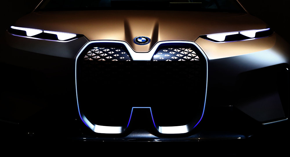 A BMW car is pictured during the earnings press conference in Munich, Germany