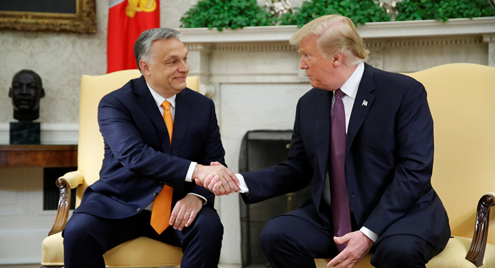 U.S. President Donald Trump greets Hungary's Prime Minister Viktor Orban in the Oval Office at the White House in Washington, U.S., May 13, 2019