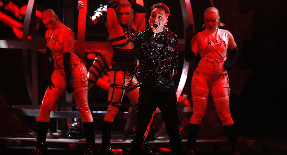 Hatari of Iceland perform the song Hatrio mun sigra during the 2019 Eurovision Song Contest grand final in Tel Aviv, Israel, May 18 May, 2019