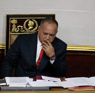National Assembly President Diosdado Cabello gestures before addressing the National Assembly in Caracas, Venezuela