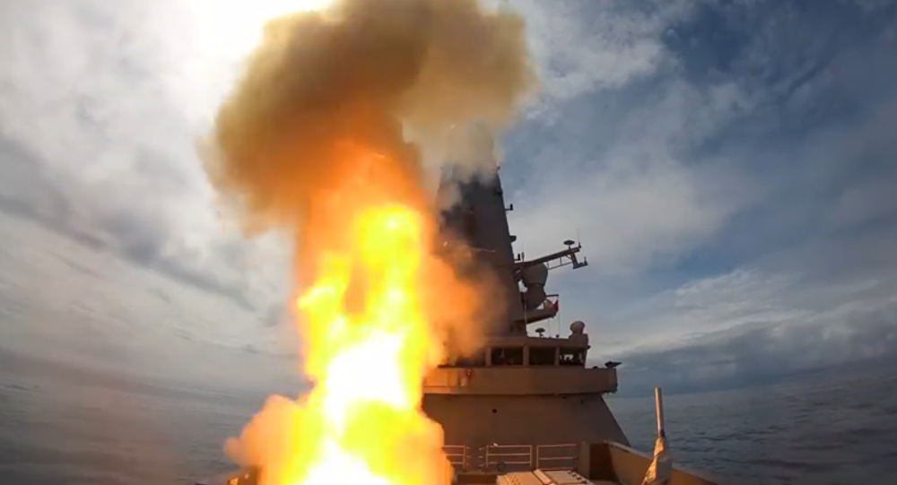 HMS Defender fires Sea Viper Missile