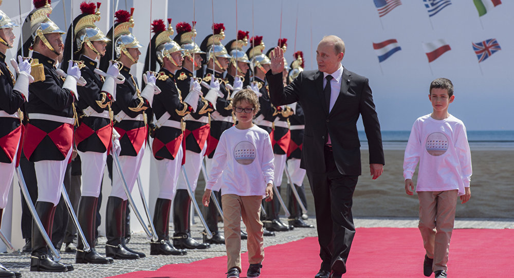 Russian President Vladimir Putin visiting Normandy, France, during the 70th anniversary of D-Day. June 2014.