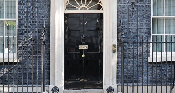 A view of the front door of 10 Downing street in central London on May 24, 2019. Beleaguered British Prime Minister Theresa May is expected to announce today when she will resign, according to reports, following a Conservative Party mutiny over her remaining in power.