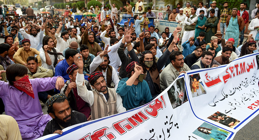 Activists of Pashtun Protection Movement (PTM) protest against the arrest of their activists and leaders, in Karachi on February 10, 2019.