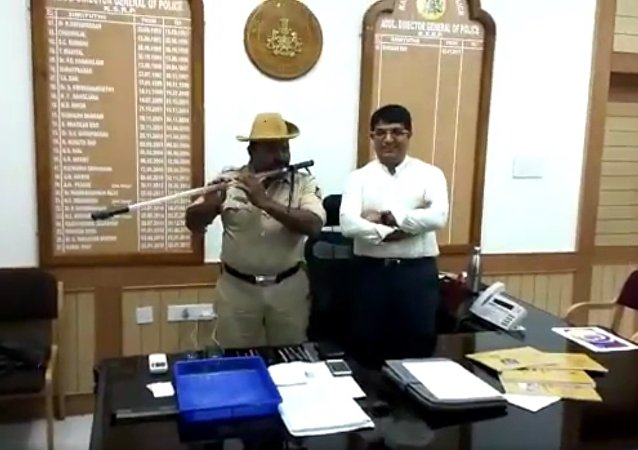Chandrakant Hutgi, Head Constable from Hubli Rural Police station has converted his Deadly Fiber Lathi into a Musical Instrument... we are proud of him...