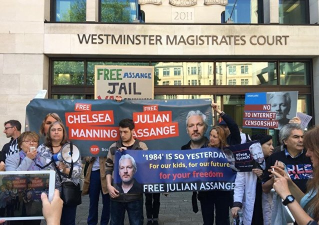 Assange's supporters chant slogans in his support before the courthouse in London