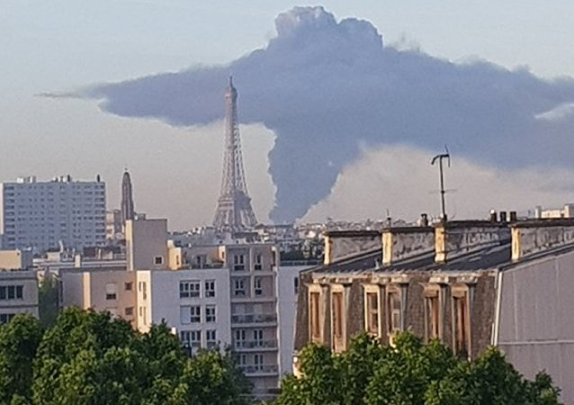 Plume of smoke over Paris