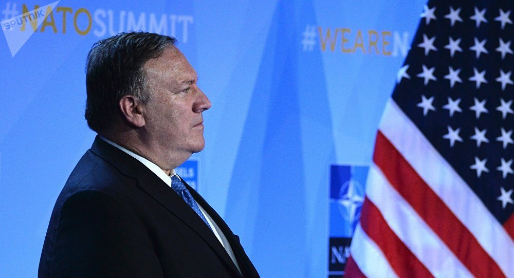 US Secretary of State Mike Pompeo, former director of the Central Intelligence Agency (CIA), during US President Donald Trump's news conference at the NATO summit of heads of state and government, Brussels