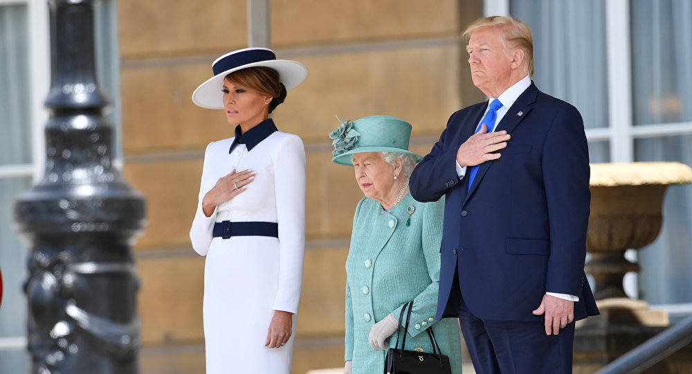 U.S. President Donald Trump and First Lady Melania Trump attend a welcome ceremony with Britain's Queen Elizabeth at Buckingham Palace, in London, Britain, June 3, 2019