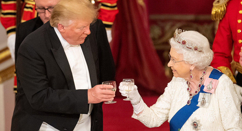 U.S. President Donald Trump and Britain's Queen Elizabeth raise their glasses to make a toast at the State Banquet at Buckingham Palace in London, Britain, June 3, 2019