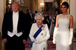 U.S. President Donald Trump, First Lady Melania Trump and Britain's Queen Elizabeth pose at the State Banquet at Buckingham Palace in London, Britain June 3, 2019.