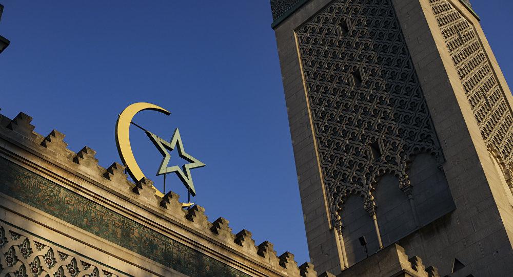 A picture taken on March 22, 2019 shows the entrance of the Grande Mosquee de Paris (Great Mosque of Paris) in Paris.